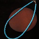 ターコイズ丸ビーズ(ブルー)ネックレス