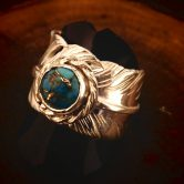 white feather turquoise  ring