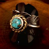 Black feather turquoise  ring