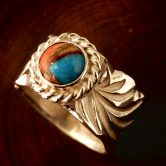 inlay kappa-turquoise  ring wide